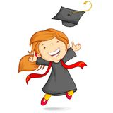 Girl in Graduation Gown. Vector illustration of girl in graduation gown and mortar board Stock Photography