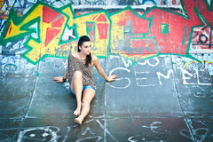 Girl and graffiti Stock Photo