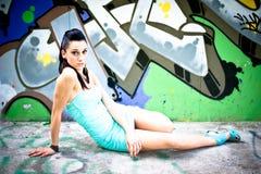 Girl and graffiti Royalty Free Stock Photos