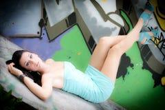 Girl and graffiti Royalty Free Stock Photo