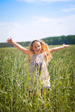 Girl in grainfield Royalty Free Stock Images