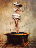 Girl on a gramophone Royalty Free Stock Image