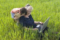 Girl with grandma Royalty Free Stock Photos