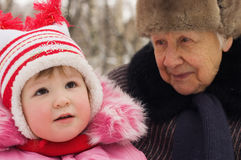Girl with the grandmother Royalty Free Stock Image