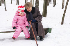 Girl with the grandmother Stock Image