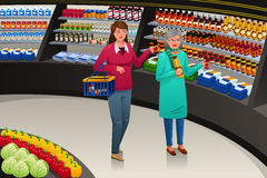 Girl and Grandmother Going Grocery Shopping. A vector illustration of a girl accompanying her grandmother going grocery shopping stock illustration