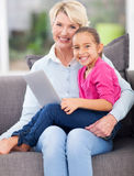 Girl grandmother notebook computer Royalty Free Stock Photos