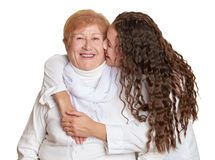 Girl and grandmother on white portrait, happy family concept Royalty Free Stock Photography