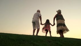 Girl with grandparents on nature background. stock video footage