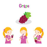 Girl With Grape Fruit, Juice, Ice Cream And Letters Stock Photo
