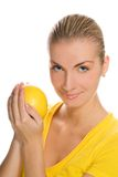 Girl with grapefruit Stock Photography