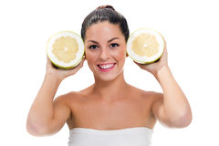 Girl with a grapefruit Royalty Free Stock Image
