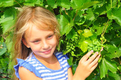 Girl and grapes Royalty Free Stock Photos