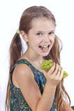 Girl with grapes Stock Photography