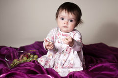Girl and grapes stock images
