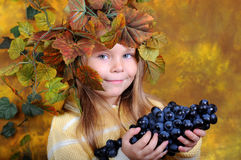 The girl with grapes in hands Royalty Free Stock Photography