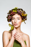 The girl with grapes Stock Photos