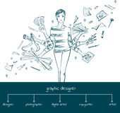 Girl graphic designer with working tools, concept Royalty Free Stock Photos