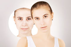 Girl with grapnics of her old skin Stock Image