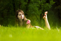 girl on a grass Stock Image