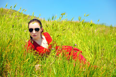 Girl in grass Royalty Free Stock Photo