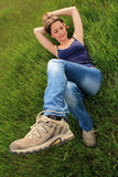 Girl in grass Stock Photo