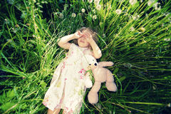 Girl on grass Royalty Free Stock Photography