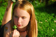 Girl grass Royalty Free Stock Photography