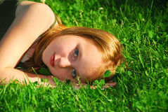 Girl grass Royalty Free Stock Images