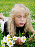 Girl in the grass. Royalty Free Stock Photo