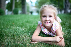 Girl  on the grass Royalty Free Stock Photo