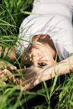 Girl in grass Royalty Free Stock Photography