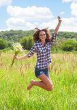 Girl in grass Royalty Free Stock Photos