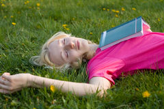Girl  on the grass Royalty Free Stock Images