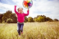 Girl on grass in summer  day Stock Photo