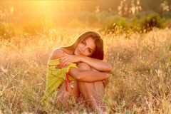 Girl, Grass, Sunset, Light, Nature