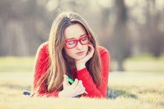 Girl on a grass. Royalty Free Stock Photos