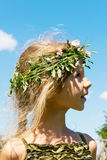 Girl in the grass wreath 4632 Royalty Free Stock Image