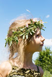 Girl in the grass wreath 4633 Stock Image