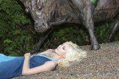 Girl on gravel Stock Photography