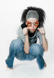 Girl on gray background Stock Images
