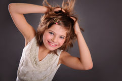 Girl on a gray background Stock Photography