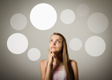 Girl and gray bubbles. Stock Image