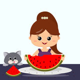 Girl, gray cat and watermelon. Stock Photo