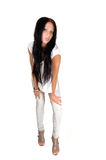 Girl in gray jeans. Stock Photography