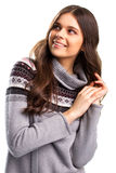 Girl in gray pullover smiling. Royalty Free Stock Photography