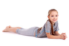 Girl in gray sport's wear Royalty Free Stock Images