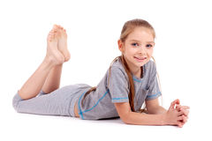 Girl in gray sport's wear Stock Image