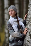 Girl in a gray sweater and beret Royalty Free Stock Photo