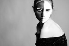 Girl with greasepaint Royalty Free Stock Image